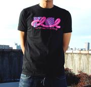 【蔵出し】FLCL×MANGART BEAMS T コラボTシャツ FLCL dazzle Logo【ガイナックス限定カラー/ブラック×ピンク】Mサイズ
