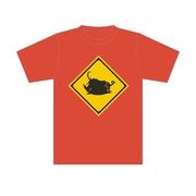 標識Tシャツ「ブータ飛び出し注意」ディープオレンジ XL